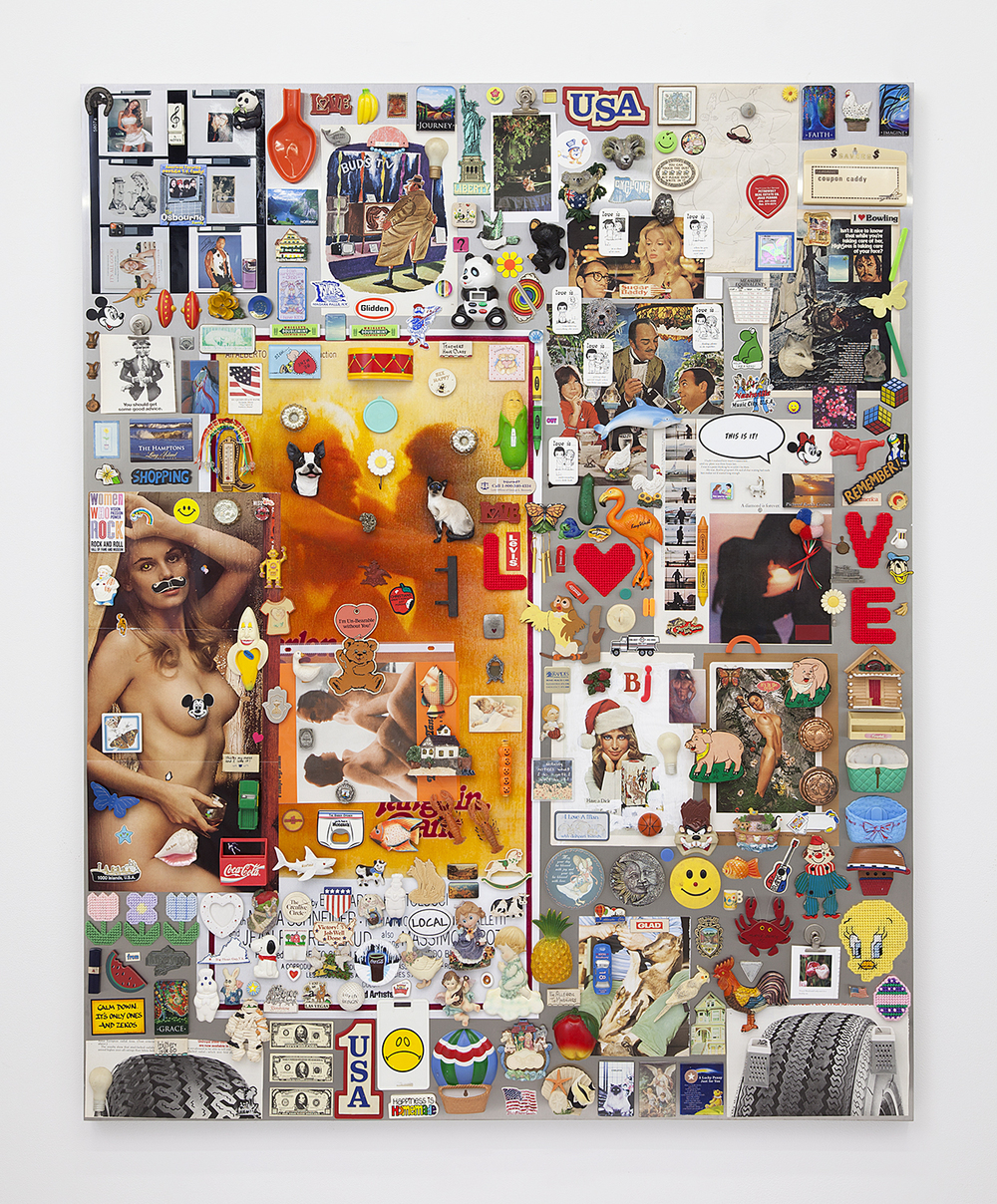 Nick Darmstaedter What Is Love (Haddaway Song), 2016 Magnets, paper, ink, stickers, plastic, graphite, and chromogenic color print on steel panel 60 x 48 inches