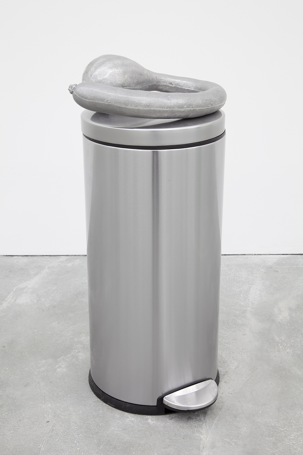 Miles Huston  Matriarchal Uniformity , 2015 Aluminum, stainless steel trash can 30 x 15 x 12.5 inches