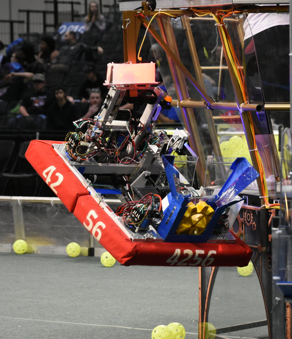 Our robot having just finished a successful climb