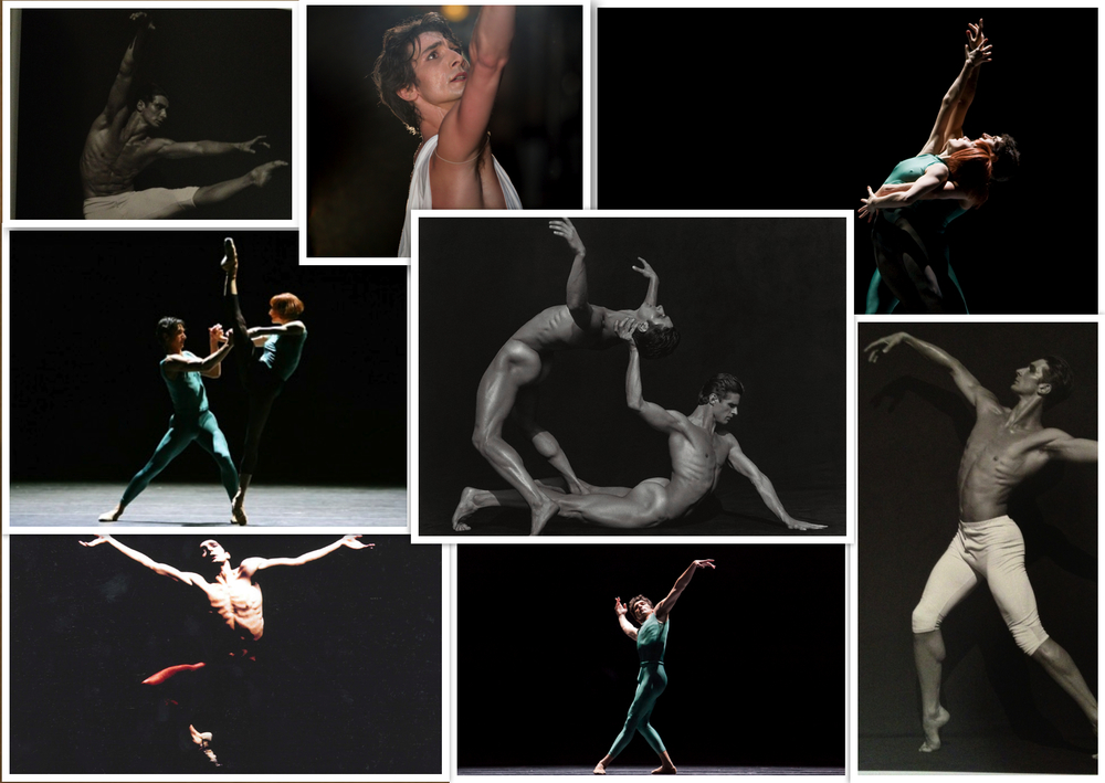 Collage highlights of Pierre Vilanoba's various roles, leading ladies, and artistic range. He has had the good fortune to work with some of the ballet world's best choreographers, artists, and photographers.   Partners pictured: Muriel Maffre, Sofiane Sylve, Yuri Possokhov   Ballets/Choreographers: Balanchine's Apollo, Caniparoli's Aria; Forsythe's In the middle, somewhat elevated   Photographers include: Herb Ritts, Erik Tomasson, Chris Hardy, Lloyd Englert, Andrea Flores.