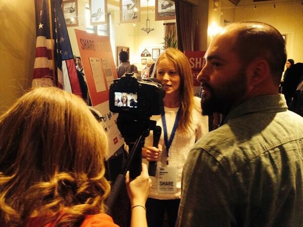 Greg and Jillian filming at the 2014 SHARE conference in San Francisco via @Shareconomyfilm