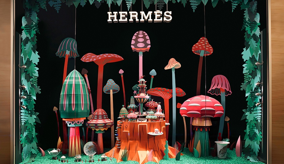 Zim & Zou Craft Colourful Worlds for a Hermès Window Display, via Azure Magazine