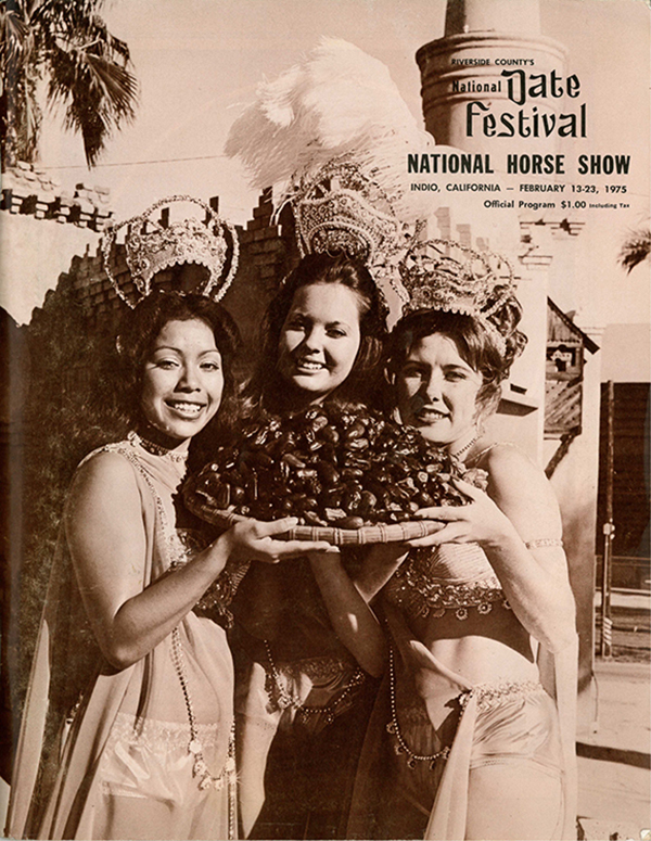 Queen Scheherazade and court from cover of Riverside County Fair and National Date Festival Official Program, 1975