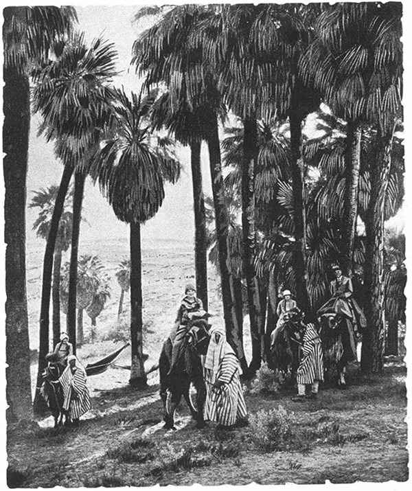 """Guests at California's Biskra who arrived on Camelback"" from Charles H. Jonas, ""The Walled Oasis of Biskra: An Interpretation of the American Desert in the Algerian Manner"", Hoag and Ford Advertising, circa 1928 