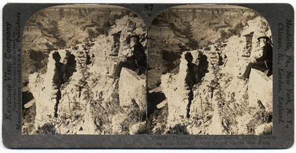 Thomas Moran at the edge of the Grand Canyon, Keystone stereograph, circa 1890 |Courtesy of Archives of American Art, Smithsonian Institution, Washington, DC. (AAA 5284)