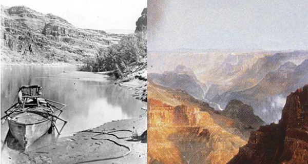 """(Left) Jack Hillers, """"JW Powell's Boat 'Emma Dean' on the Colorado"""", Grand Canyon, circa 1872 