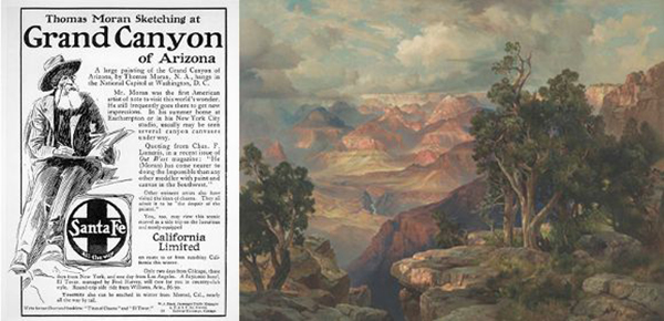"""(Left) Advertisement for Santa Fe Railroad published in the January 1909 issue of Fine Arts Journal 