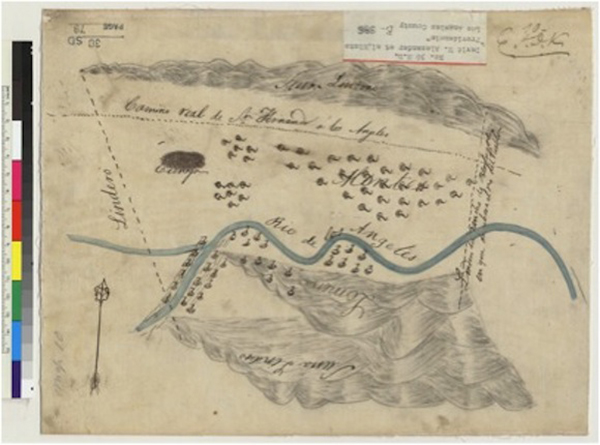 Diseño del Rancho Providencia, a 4,064-acre Mexican land grant that is now occupied by the City of Burbank, 1840s | Courtesy of University of California Berkeley, Bancroft Library