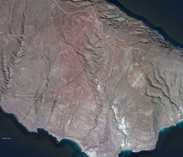 Fire retardant lines, San Clemente Island, screen shot | Courtesy of bing.com