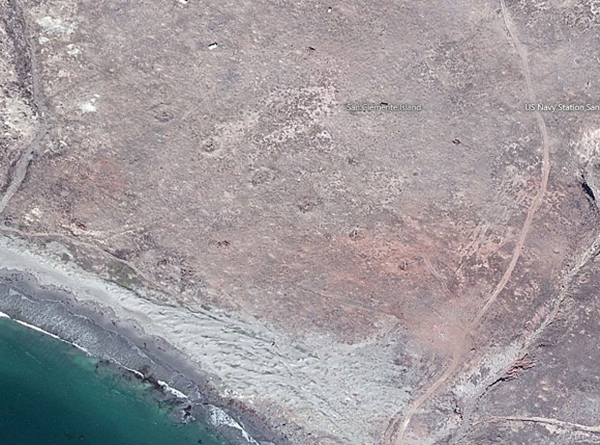 Bombardment scars, San Clemente Island, screen shot | Courtesy of bing.com