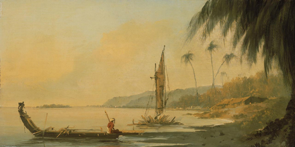 William Hodges, View from Point Venus, Island of Otaheite, Oil on panel, 240 x 470mm, 1773-4 | Courtesy of National Maritime Museum, Greenwich, UK