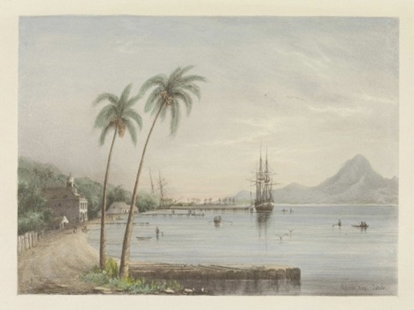 Conway Shipley, Papeiti Bay Tahiti, Lithograph, 1851 | Courtesy of Yale Center for British Art, Paul Mellon Collection