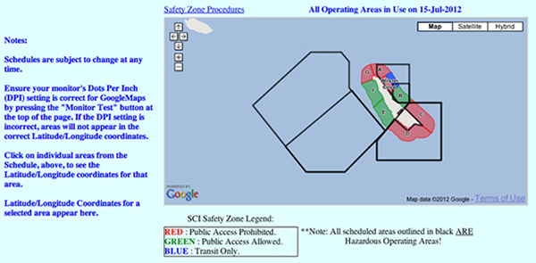 San Clemente Island access schedule, screen shot | Courtesy of scisland.org