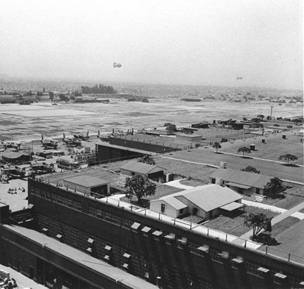 Rooftop camouflage at the Douglas Aircraft Factory, circa 1942 | Courtesy of the Santa Monica Public Library Image Archives