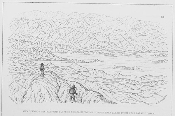 Arthur Schott, View towards the Eastern Slope of the Californian Cordilleras Taken from Near Carrizo Creek, engraved by W.H. Dougal, ca. 1856. Plate from William Emory, Report on the United States and Mexico Boundary Survey, 1857, vol. 1.