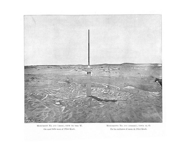 Monument No. 210 (Iron), View to the W: On Sand Hills west of Pilot Knob [AZ], 1891-6. Plate from The International Boundary Commission, Report of the Boundary Commission upon the Survey and Re-marking of the Boundary between the United States and Mexico West of the Rio Grande. Album, 1891-1896.