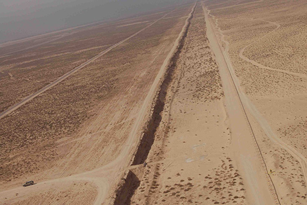 "The ""Line in the Sand"" between Kuwait and Iraq, circa 2007. 