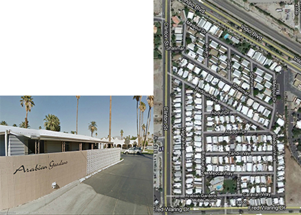 Left: Arabian Gardens Trailer Park in Indio, California. Note the Arabian inspired pool house in the background; Right: Map of Arabian Gardens Trailer Park in Indio, California. Note the Arabian inspired street names like Aladdin Drive and Bedouin Avenue. | Screen shots from maps.google.com