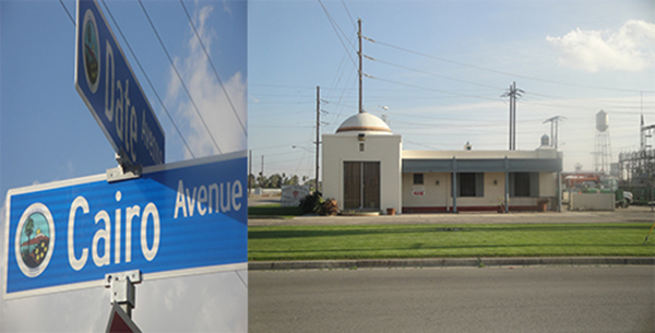 Left: Intersection of Date and Cairo Avenues in Coachella, California; Right: The current Desert Fresh, Inc. building off of Highway 111 and 9th Street in Coachella, California (Formerly Imperial Irrigation)  | Photographs by Margo McCormick