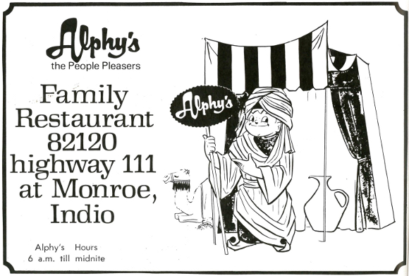 Advertisement for Alphy's Family Restaurant from the Riverside County Fair and National Date Festival 1975 Official Program | Collection of the Author