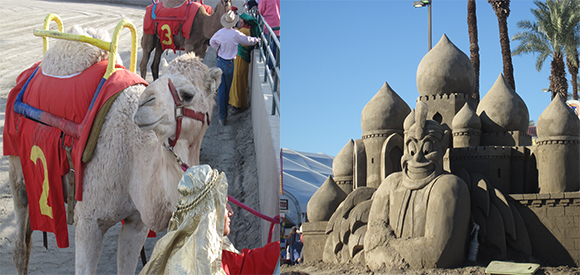 Left: Camel and rider from the 2010 Date Festival Camel Races; Right: Sand Sculpture from the 2011 Date Festival. | Photographs by the author