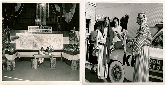Left: University of California Agricultural Extension Exhibit at the 1948 Date Festival; Right: Costumed men and Queen Scheherazade contestant at the 1949 Date Festival | Collection of the author
