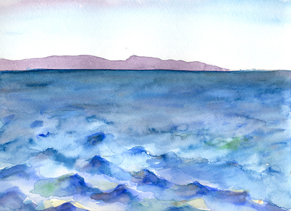 After Hodges: coastal profiles of So. CA's own San Clemente Island, Hillary Mushkin, watercolor and pencil on paper, 9 x 11 inches, 2012
