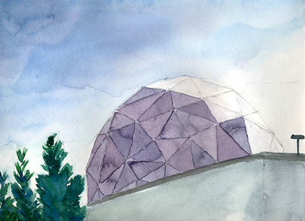 """Radome, Northrop Grumman Space Park Drive Aerospace HQ,"" Hillary Mushkin, watercolor and pencil on paper, 9 x 11 inches, 2012"
