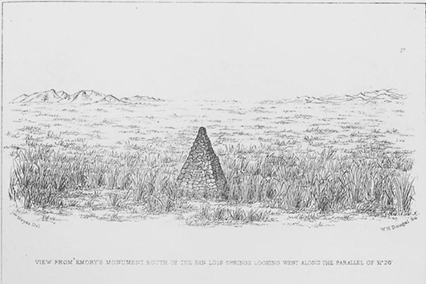 "John Weyss, ""View from Emory's Monument South of the San Luis Springs Looking West across the Parallel of 31°20',"" engraved by W.H. Dougal, ca. 1856. Plate from William Emory, ""Report on the United States and Mexico Boundary Survey, 1857, vol. 1."""