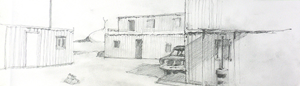 Twentynine Palms MCAGCC mock village, pencil on paper by Andy Wilcox, 2013