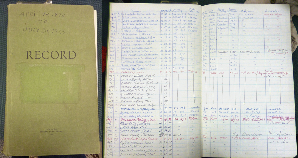 A 1973 San Diego sector U.S. Border Patrol log book | Photo by Jena Lee