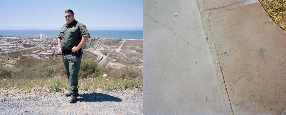 Left: Portrait of Agent Dan Smoak; Right: Ant trail on border | Photos by Jacob Janco