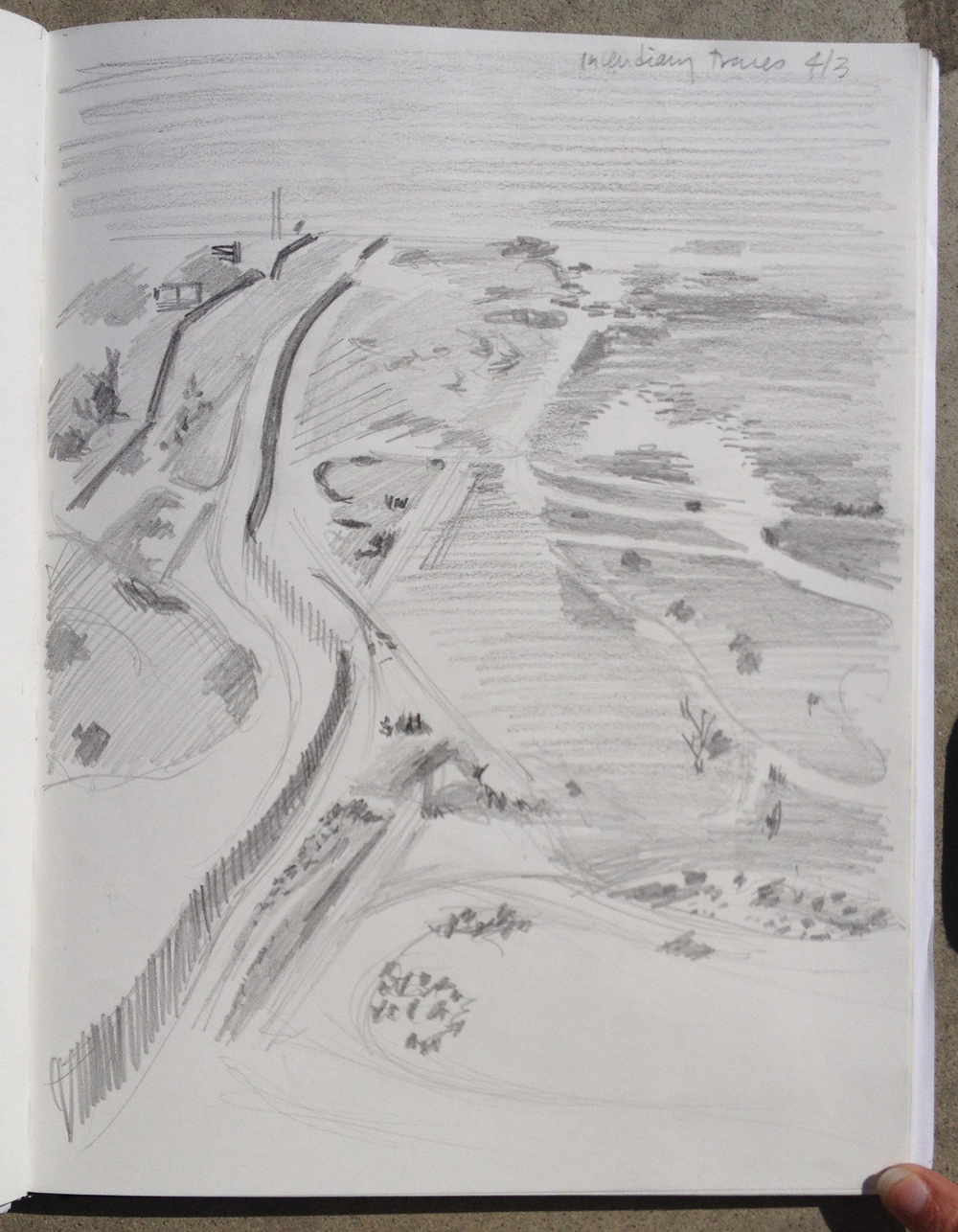 The US-Mexico Border looking west from Bunker Hill | Drawing by Eva Struble
