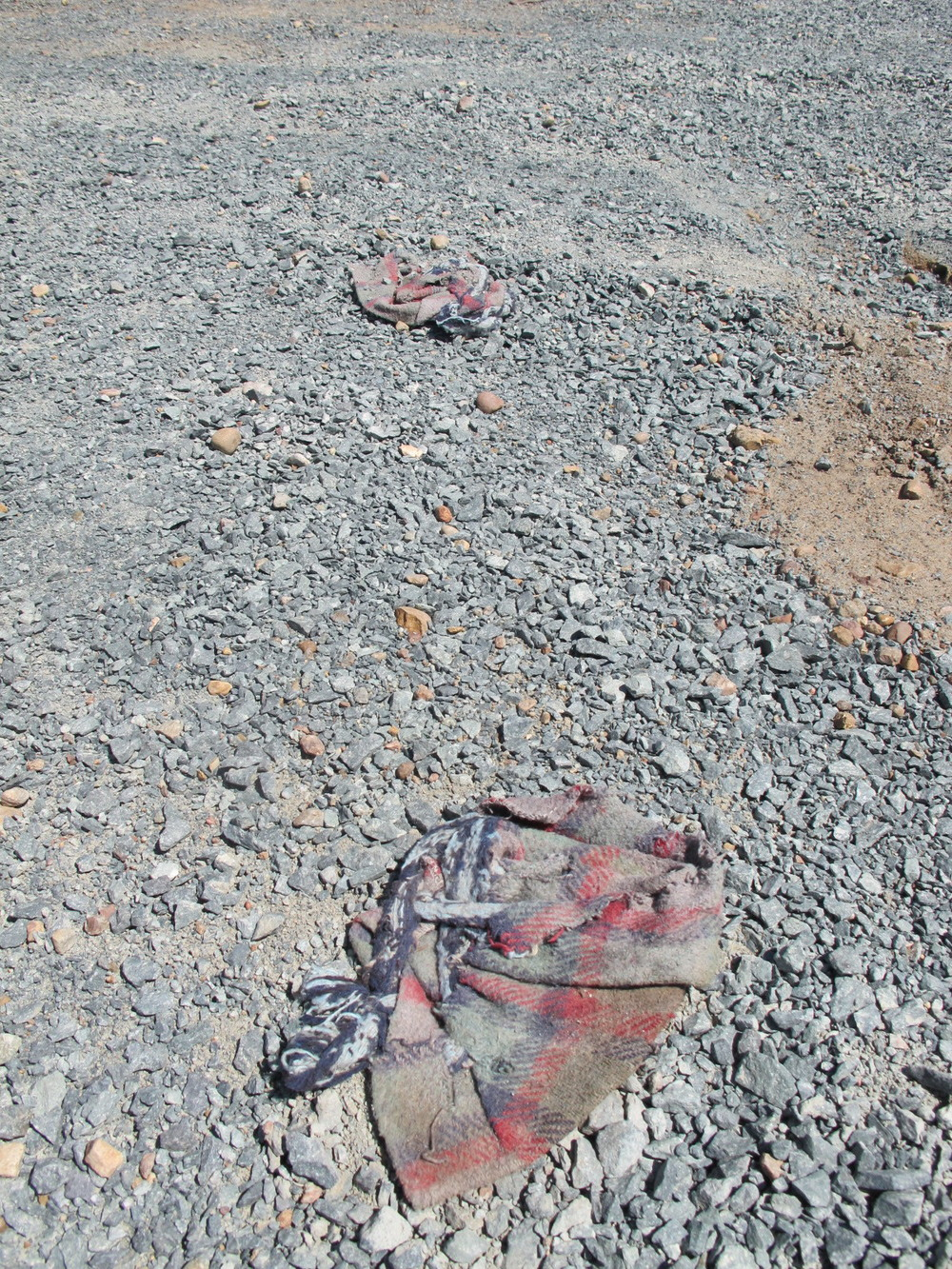 Fabric used as shoe covering by a border crosser in an attempt to avoid leaving footprints that could be tracked by border agents | Photo by Jena Lee
