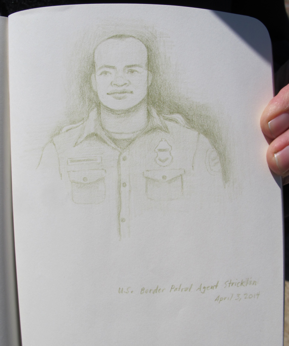 Portrait of U.S. Border Patrol Agent Kris Stricklin | Drawing by Amy Adler