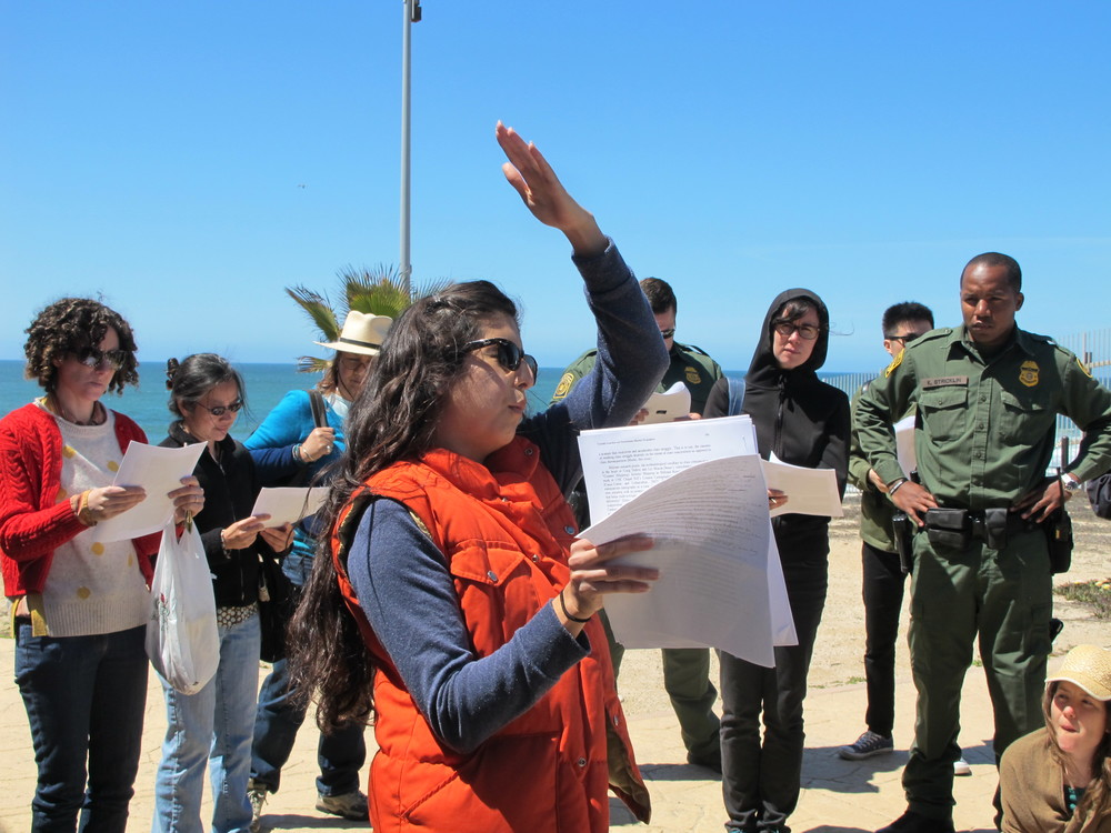 Celeste Menchaca presents a brief history on the patrolling the US – Mexico border at Friendship Circle| Photo by Jena Lee