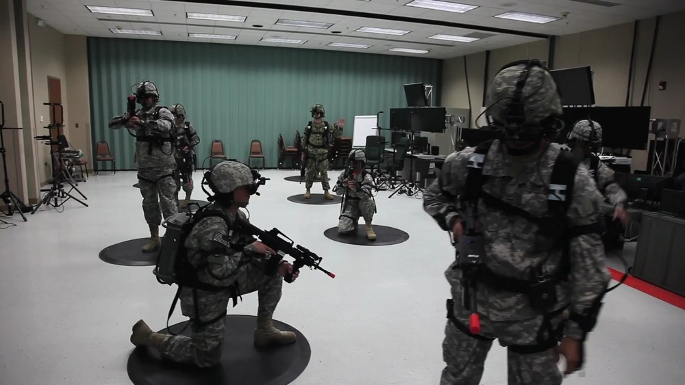 U.S. Army Soldiers conduct virtual dismounted training using a military alternative to the Virituix Omni and Oculus Rift | Screenshot from ArmyVideoTube