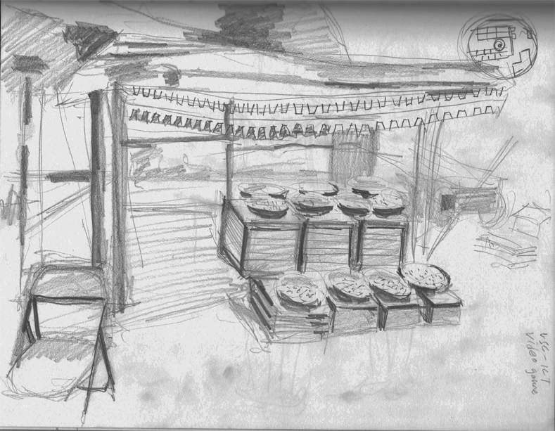 A DICE-T market stand | Drawing by Eva Struble