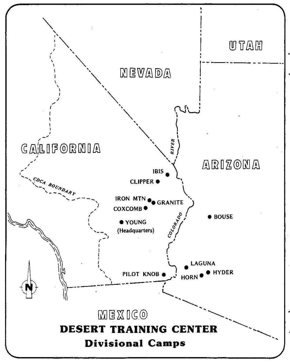 The Desert Training Center/ California- Arizona Maneuver spanned three states, though the majority of divisional camps and the headquarters were located in California.  Area maps courtesy of the Bureau of Land Management, Needles Field Office.