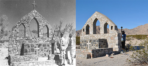 The outdoor chapel at Camp Iron Mountain is one of the few structures that remains. Left, photograph by Bill Threatt, courtesy of the General Patton Memorial Museum. Right, Bureau of Land Management Staff survey the remains of the Iron Mountain Chapel, courtesy of the Bureau of Land Management, Needles Field Office