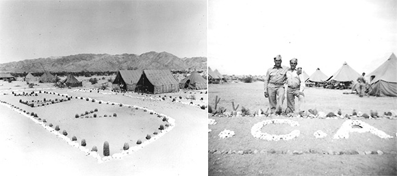 Troops often used rocks to line walkways or reproduce their insignias at the divisional camps. Left, cactus and rocks form Vs for the 5th Armored Division. U.S. Army photograph. Right, soldiers pose in front of a similar installation. Both courtesy of the General Patton Memorial Museum. Below some of the rock pathways and designs are still visible today. Courtesy of the Bureau of Land Management, Needles Field Office.