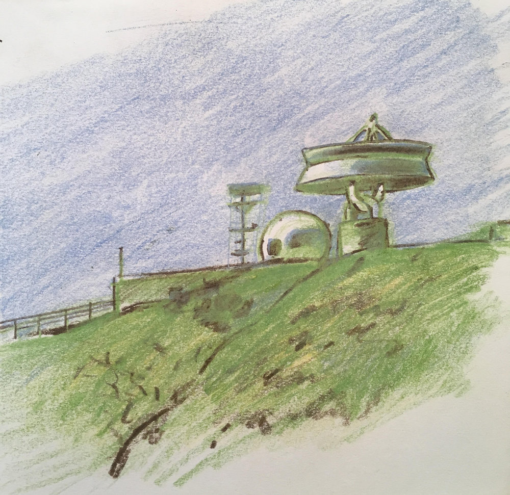 Joseph Bolstad | Sketch of Laguna Peak Tracking Station, 2016 | Colored pencil on paper