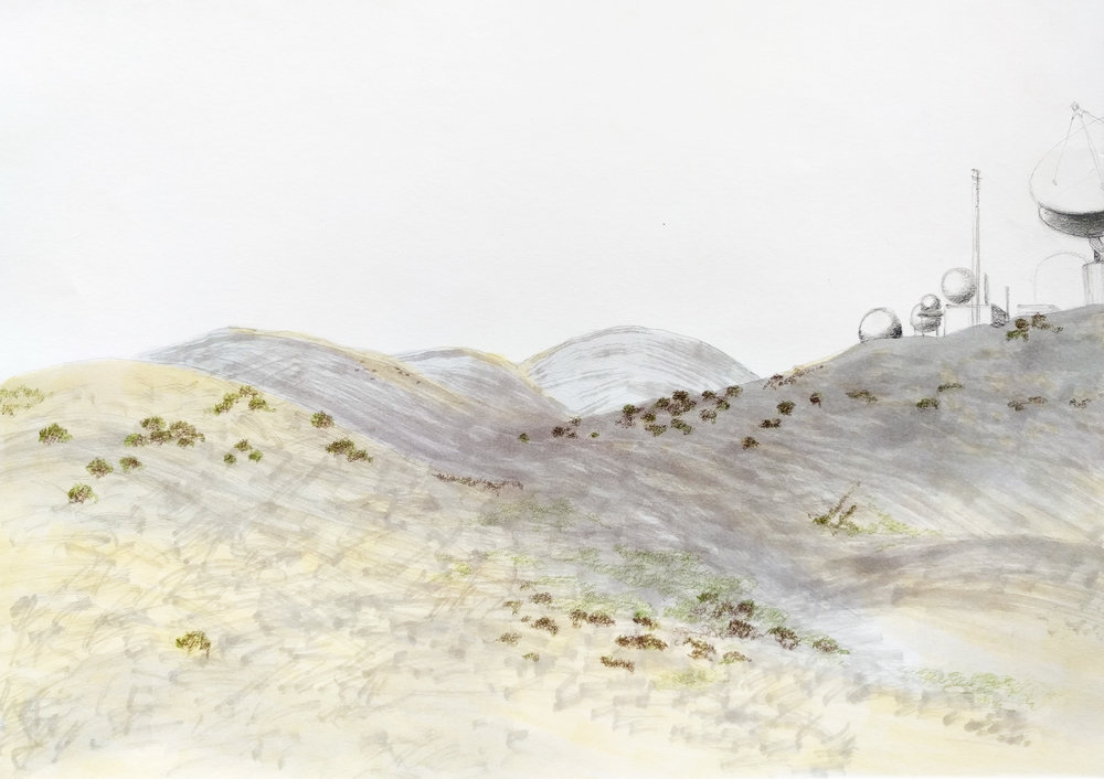 Jena Lee | Sketch of the Ridge with Laguna Peak Tracking Station, 2016 Marker and pencil on paper