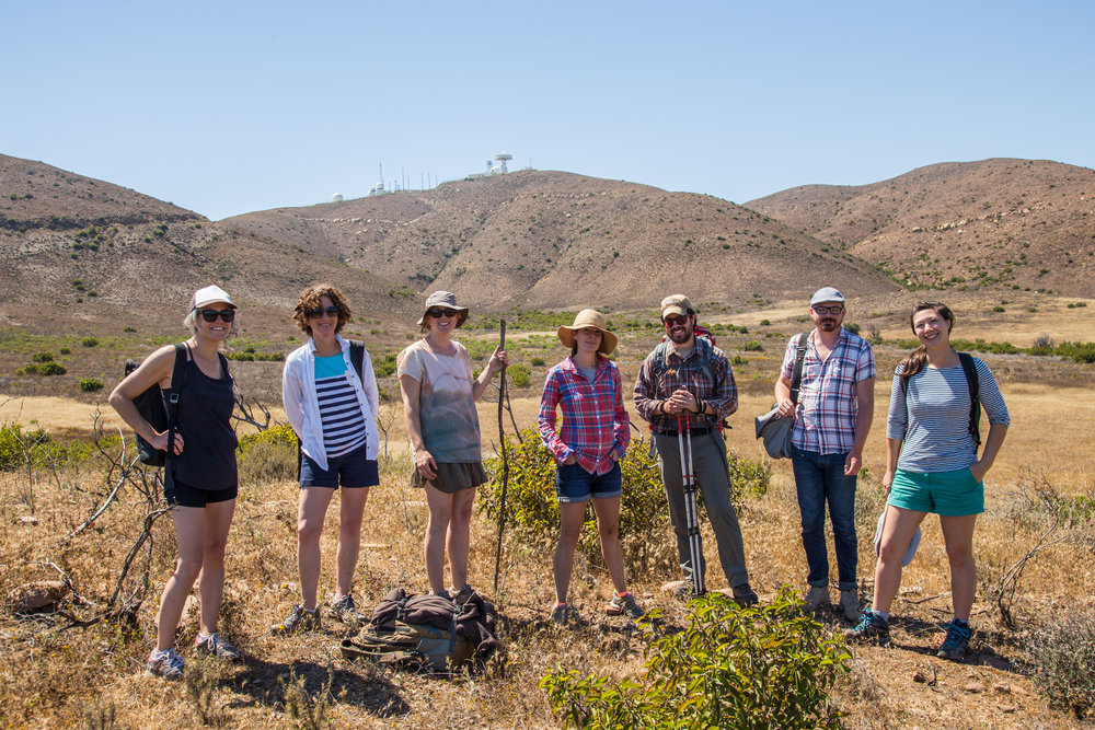 Participating artists at Point Mugu (L to R): Sara Voden, Hillary Mushkin, Stacie Jaye Meyer, Leslie Goren, Richard Wheeler, Joseph Bolstad, Jena Lee. Photo: Conor Collins