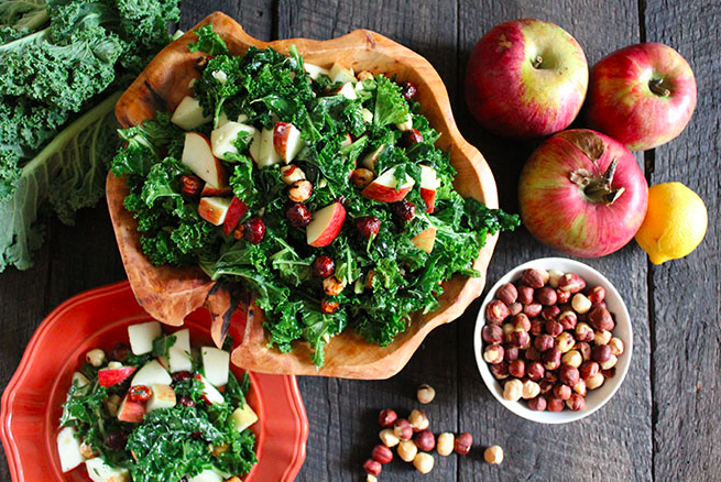 Fuji Apple Kale Salad with Maple Spiced Hazelnuts, courtesy of Nutrition Stripped