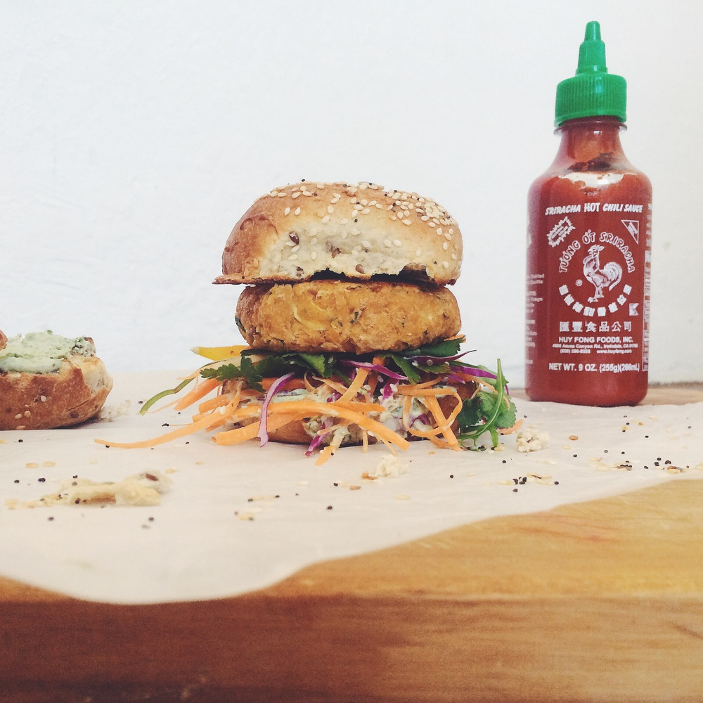 Sriracha and peanut burger