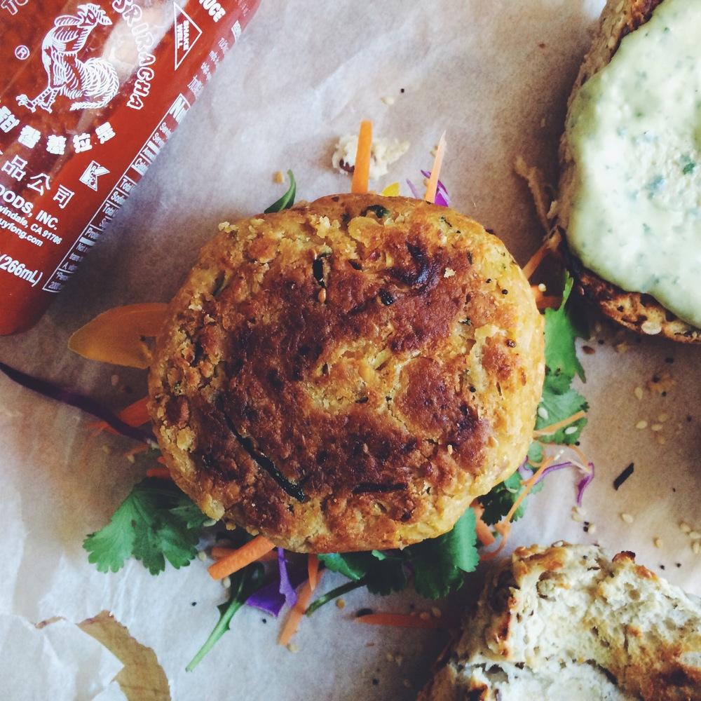 unassembled sriracha and peanut burger
