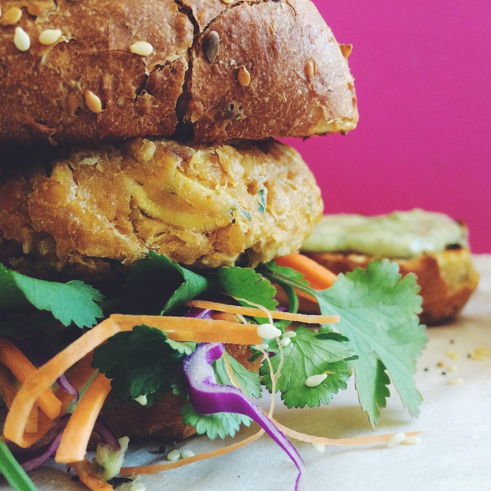 sriracha and peanut burger