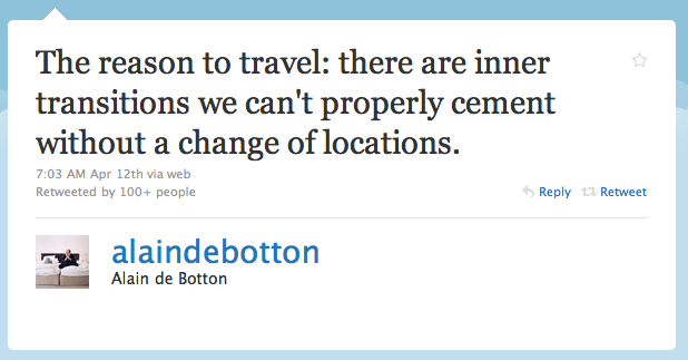 travelhighlights :       Alain de Botton