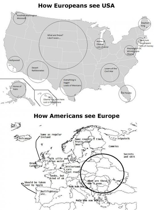 fuckyeahglobetrotters :      How Europeans see USA, How Americans see Europe       can't stop laughing